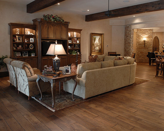 "Private Residences - Tuscany™ Collection 6-3/4"" (17 cm) wide, Vintage French Oak hardwood floor, smooth face, hand beveled, hand distressed, dyed and stained in custom Bronze color, pre-finished with Hardwax Oil."