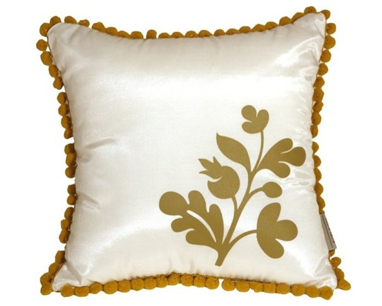 Pillow Decor - Pillow Decor - Bohemian Blossom White and Ocher Throw Pillow - This delightful throw pillow has a fringe of lively, ocher pom poms around the edge and a bold floral ocher print in the corner. The front background color of the pillow is a solid shimmering white and the back of the pillow is a solid shimmering ocher. Match it up with our large Bohemian Damask throw pillow and you have a wonderful contemporary pillow design story in your home.
