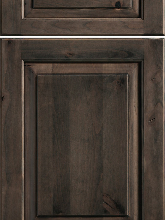 """Dura Supreme Cabinetry - Dura Supreme Cabinetry Kendall Cabinet Door Style - Dura Supreme Cabinetry """"Kendall"""" cabinet door style in Knotty Alder shown with Dura Supreme's """"Caraway"""" gray stain finish."""