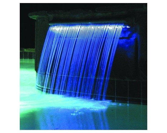 Color Lit Pool Waterfall - Light Streams is a new and innovative product line of L.E.D. lit water features. These elegant water features are internally lit and can be used in a variety of applications. Use them individually or in combinations. Add a special touch of class to your backyard with Light Streams. These exquisite water features are cost effective, versatile and perfect for any pool. Add one of these elegant water features to your backyard today! Light Streams can make the difference!