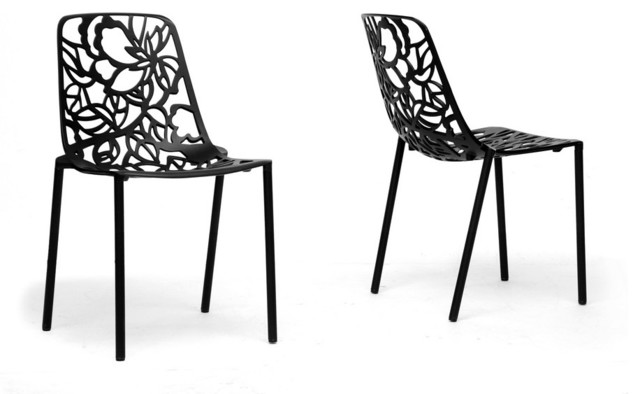 Demeter Black Metal Modern Dining Chair Set Of 2 Contemporary Dining Ch