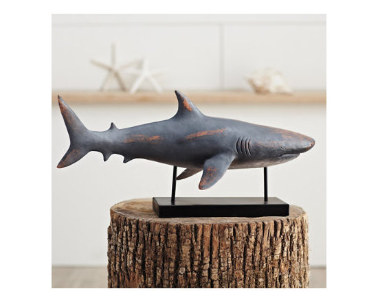 Grandin Road - Bruno the Shark - Realistic and charismatic shark statuary on matte black base. Fabulous focal point for any sea-inspired décor. 95% resin, 5% metal. Dust regularly; wipe with damp cloth if needed. Crafted for years of whimsical service. Bruno the Shark is swimming in charisma. At once realistic and vintage, Bruno is made from a resin metal composite and hand-painted in a coal gray finish with patinaed rust undertones. Almost two feet long, he has realistic gills, eyes and fins. Add Bruno to any nautical themed room.  . Fabulous focal point for any sea-inspired decor .  .  .  . Imported .