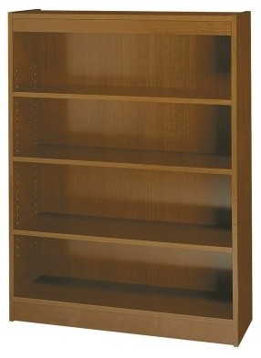 Safco 4-Shelf Reinforced Square Edge Veneer Bookcase - Medium Oak modern bookcases cabinets and computer armoires