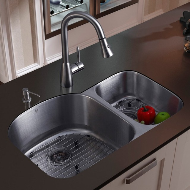 Http Www Houzz Com Photos 1424207 Vigo Platinum Double Offset Undermount Stainless Steel Kitchen Sink Set Modern Kitchen Sinks