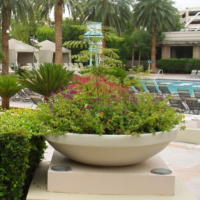 Round Resin Bora Planter Contemporary Outdoor Pots And