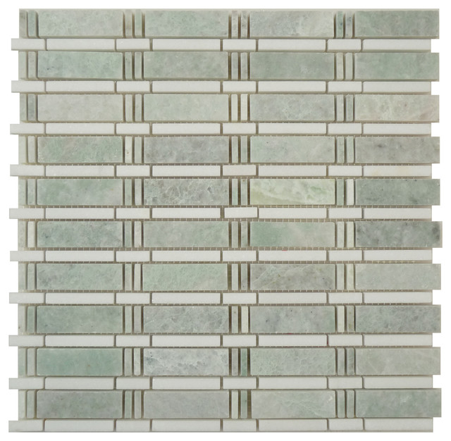 Skyline Ming Green and Thassos White Uniform Brick Green Kitchen Polished Stone modern-tile