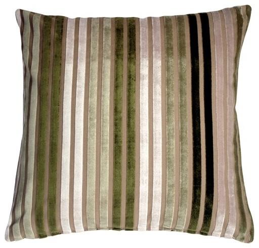 Pillow Decor - Velvet Multi Stripes Green 20 x 20 Throw Pillow contemporary-decorative-pillows