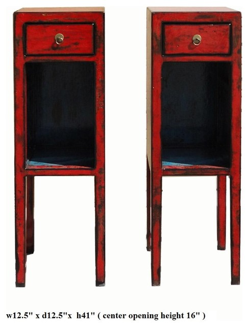 Pair red lacquer narrow tall side tables stands for Tall slim side table