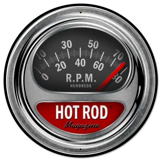 Hot Rod Tach Metal Sign 28 x 28 Inches eclectic-home-decor