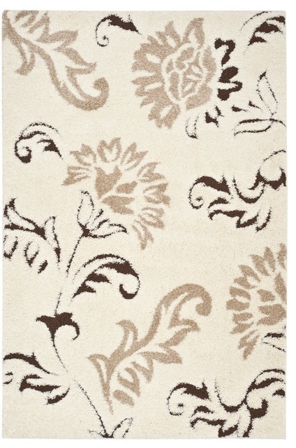 Safavieh Florida Shag SG463 Cream - Dark Brown Area Rug mediterranean-carpet-tiles