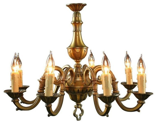 Used Vintage 1950s French Rococo 8-Arm Chandelier transitional-chandeliers