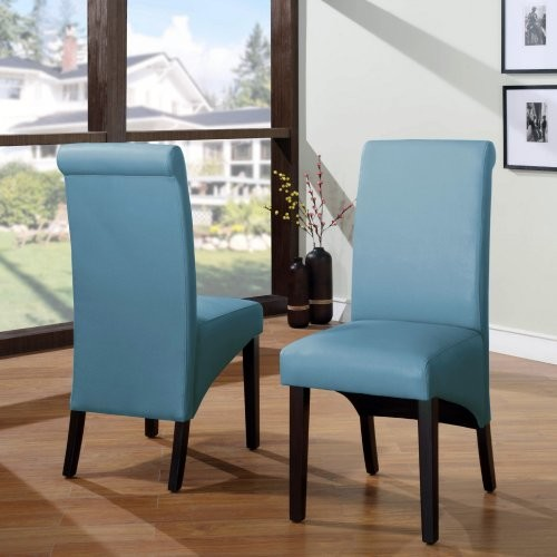 Cosmo Sleigh Back Chair - Sky - Set of 2 modern-dining-chairs