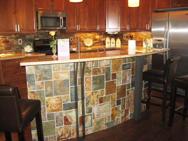 Stone Island and Bar Kitchen - Contemporary - Kitchen - grand rapids ...