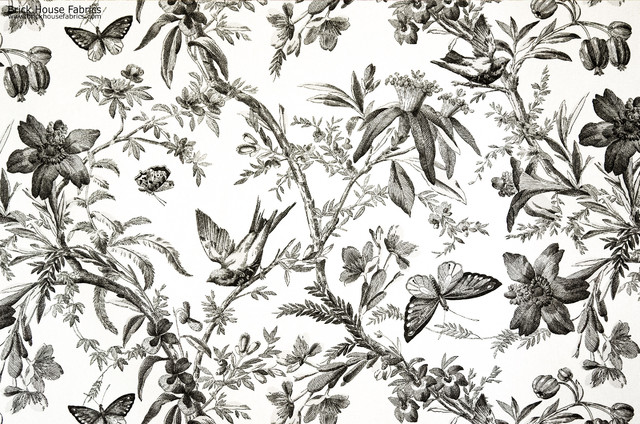 Black Toile Fabric Bird Butterfly Passion Flower