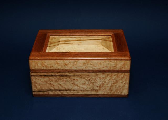 Contemporary Barware Birdseye Maple And Mahogany Humidor Contemporary