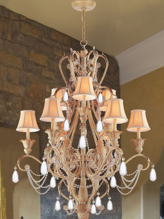 "Winslow Collection 12-Light 36"" Champagne Chandelier with Optical Crystal - Winslow Collection offers traditional flare, whether in Dark Rust of Champagne finish. Winslow Collection comes with Ivory Shades."
