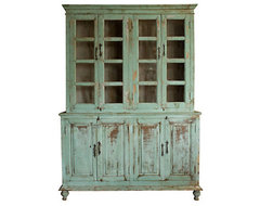Distressed Wood Cabinet traditional bookcases cabinets and computer armoires