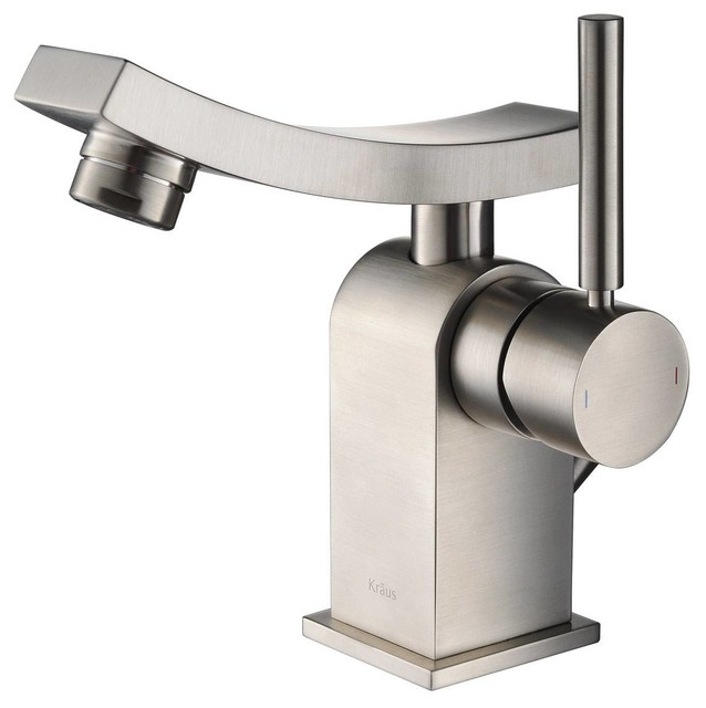 Kraus Unicus Single Lever Basin Faucet Brushed Nickel modern-bathroom-faucets
