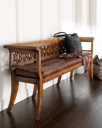 """Leighton"" Wood & Leather Settee traditional-indoor-benches"