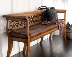 """Leighton"" Wood & Leather Settee traditional-benches"