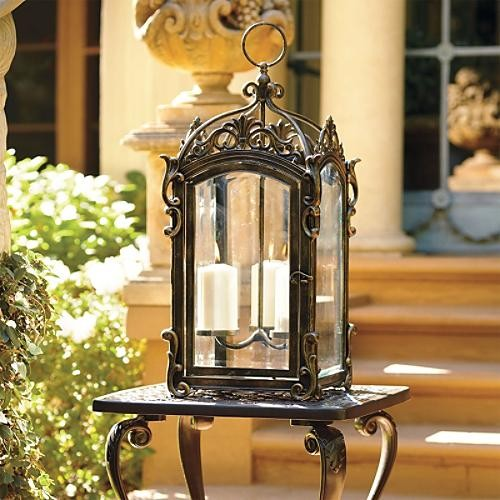 Off White Outdoor Candle Lantern Lamp Traditional Outdoor Lighting By F