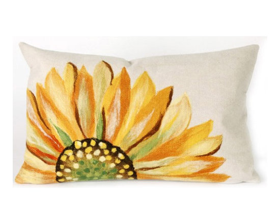Trans-Ocean Liora Manne Sunflower Yellow Pillow - This is such a gorgeous bloom! Throw a few of these pillows onto your couch in the living room, and see how the room transforms.