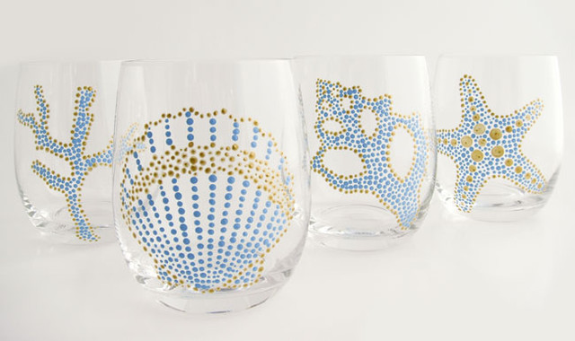 Hand Painted Sea Motif Aqua/Gold Glassware, Set of 4  glassware