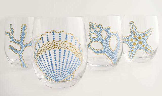 Hand Painted Sea Motif Aqua/Gold Glassware, Set of 4 everyday-glasses