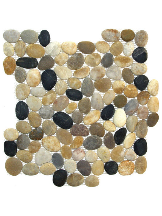 Indo Tile - Natural Finish Mixed Color Pebble Tile - Natural Finish Mixed Color pebble tile, 100% natural Asian pebbles are assembled on interlocking mesh pattern for a seamless designer finish. A great looking  pebble tile with stunning tones of amber, browns, taupe, burgundy, grayish white and black stones artistically blended. .  The pebbles or ancient river rocks are sorted for color size and thickness ensuring the best gauge of pebbles for a uniform height and color pallet. The pebbles are then carefully reviewed again, hand selected then puzzled into a patented interlocking mesh pattern. The result is a premium pebble tile with superior consistency and quality. Each tile assembly is on a sturdy nylon mesh backing using an environmentally safe glue. The patented interlocking pattern is designed so the pebble tiles fit together seamlessly when installed.  The final installed result is a seamless field of pebbles with no detectable tile pattern.
