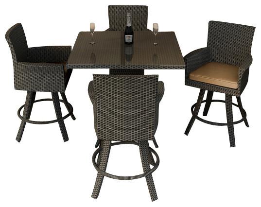 Hampton 5 Piece Modern Outdoor Bar Set, Chocolate Wicker and Tan Cushions modern-patio-furniture-and-outdoor-furniture