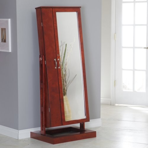 ... Locking Cheval Mirror Jewelry Armoire traditional-storage-units-and