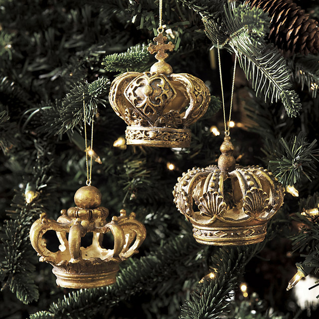 Set of 3 Crown Ornaments traditional-holiday-decorations