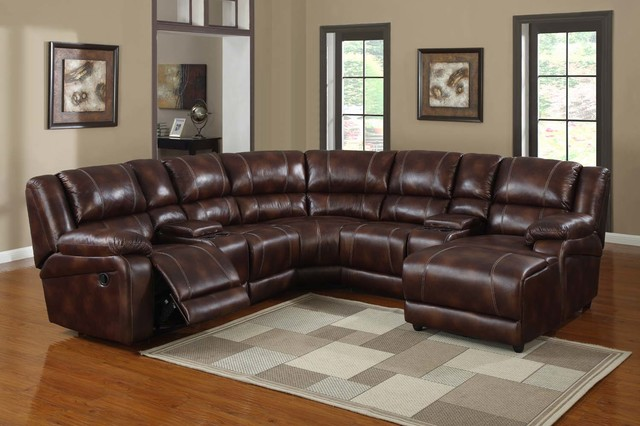 Modern Brown Microfiber Reclining Sectioanl Sofa Chaise