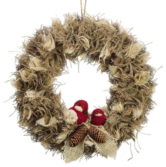 Bird & Pine Cone Burlap Wreath rustic-wreaths-and-garlands