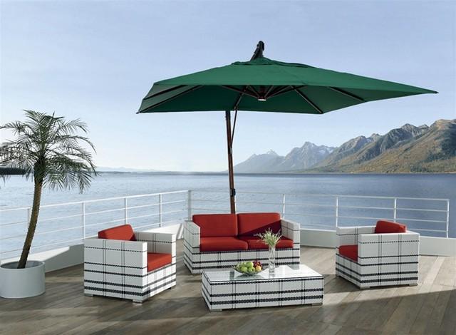 Akoi Patio Set & Umbrella Tropical Outdoor Lounge Sets