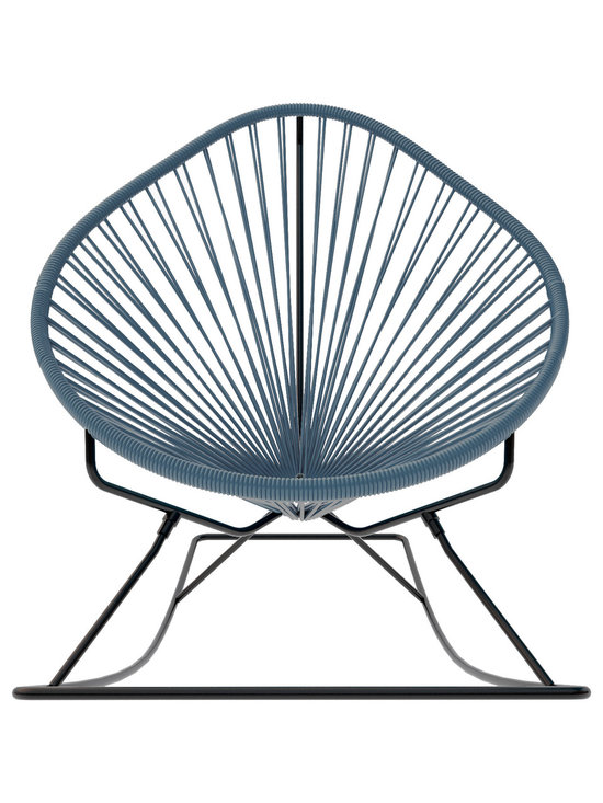 Acapulco Rocker, Grey Weave On Black Frame - Sit back and relax in this classic woven rocking chair. The iconic pear-shaped seat is perfect for enjoying the backyard, but looks equally stylish inside the home. Order from a rainbow of colors to match your personality or stay cool with classic black and you can't go wrong.