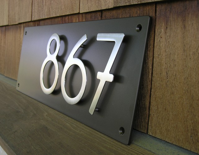 Custom modern address plaque with 5 bungalow house for Modern house number plaques