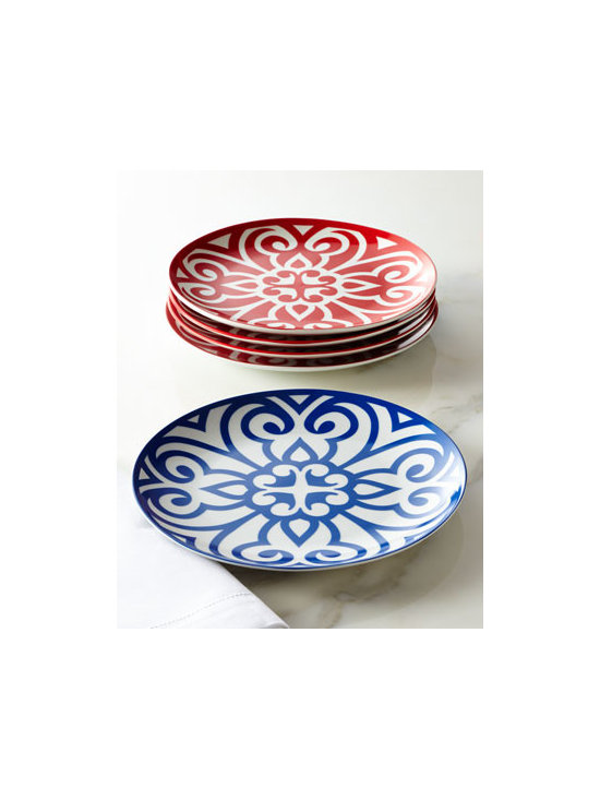 "Horchow - Portion-Control Dinner Plates - Porcelain plates in Celtic- and French-inspired scrollwork designs are perfect for everyday use or casual entertaining. Dishwasher and microwave safe. Available in ""Pacific Light"" (blue) or ""Ruby Bold"" (red). Set of four; each, 9""Dia. Imported. W..."