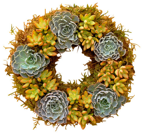 This gorgeous spring wreath features ruffled leaves and exquisite rose blossoms