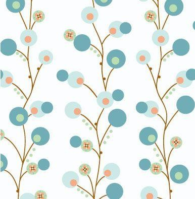 Modern Vintage Blue Twiggy Fabric modern baby bedding