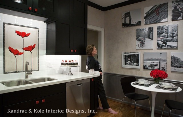Black, White and Red Kitchen contemporary-kitchen