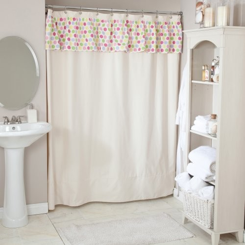 Saxony Natural Shower Curtain With Spatter Fruiti Valance ...