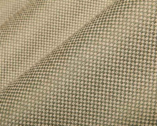 Katani Upholstery Fabric in Cypress - Katani Check Pattern Upholstery Fabric in Cypress combines deep green with super soft tan in a textured weave. This is a perfect neutral fabric for classic or modern interior designs. Made from a blend of 46% rayon, 42% polyester, and 12% cotton, this durable fabric passes 48,000 double rubs on the Wyzenbeek Abrasion Test. Cleaning Code: S; UFAC: Class I; passes CA117 Test. Width 54″.