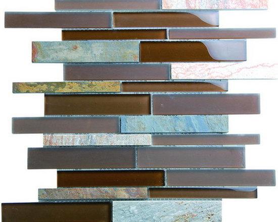 Glass slate mosaics - The multicolored slate with glass
