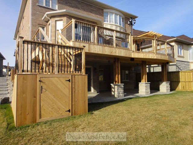 2 level cedar deck with walkout basement and pergola for Walkout basement patio