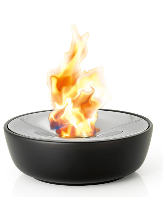 Blomus - Fuoco Tabletop Gel Firepit, Large - This tabletop gel firepit hold 2 hours worth of burning gel and includes stainless steel snuffer. Smokeless, clean burning fire suitable for indoors or out. Made of ceramic and polished stainless steel.Volume: 13.5 fluid oz. (0.4 Liter)Burns for approx 2 hours depending on wick exposure and wind condition.