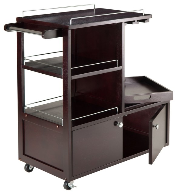 Winsome Wood Galen Entertainment Cart With Espresso Finish