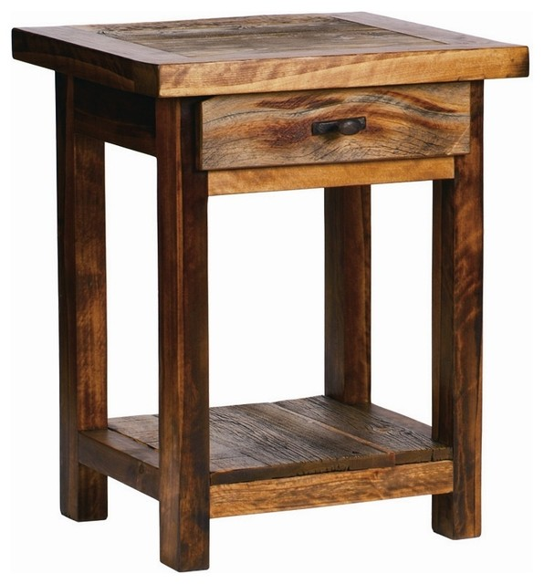 Rustic Wood Nightstand w Drawer Contoured Aspen Rustic Nightstands And Bedside Tables by