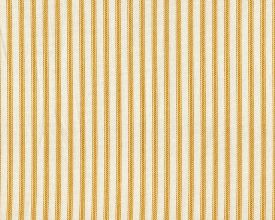 """Close to Custom Linens - 18"""" Full Bedskirt Gathered Yellow Ticking Stripe - A charming traditional ticking stripe in yellow on a cream background. Gathered with 1 1/2 to 1 fullness, split corners and an 18"""" drop. Cotton/poly platform."""