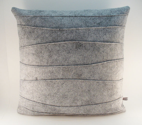 Gray Decorative Felt Pillow with Ribbing by Sheila Weil Studios contemporary-decorative-pillows